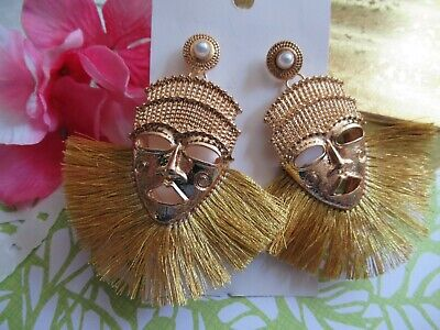 Gorgeous LARGE African Tribal Mask Statement Gold Tassel Mask Earrings  - Gorgeous Tassel Earrings