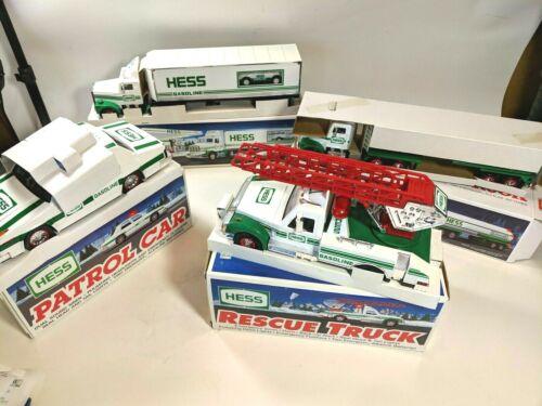 Lot of 4 Hess Gasoline Trucks 1992 1993 1994 Tanker Rescue Patrol 18 Wheeler NIB