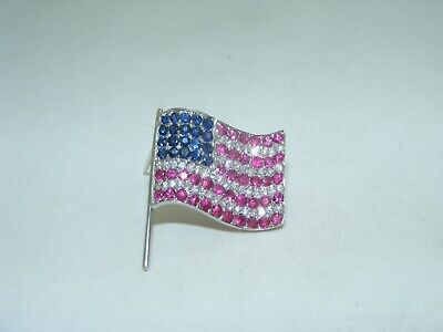 18k White Gold Diamond Ruby and Sapphire American Flag pin