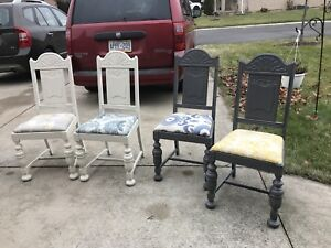 Distressed antique table and chairs
