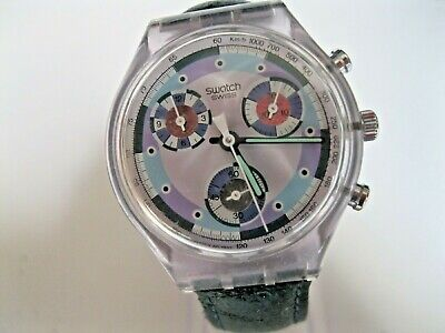 VINTAGE 1992 SWATCH GREENTIC CHRONOGRAPH MEN'S WATCH WITH 22 JEWELS NEW BATTERY