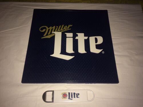 MILLER LITE Beer Bar Drink Mat 14x14 with Bartender Speed Opener-Both New.