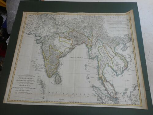 100% ORIGINAL LARGE EAST INDIES SINGAPORE BY MAP T JEFFREYS C1772 HAND COLOURED