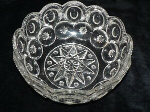Antique-Vintage-Clear-Glass-Large-Bowl-Beautifully-Etched-Pattern