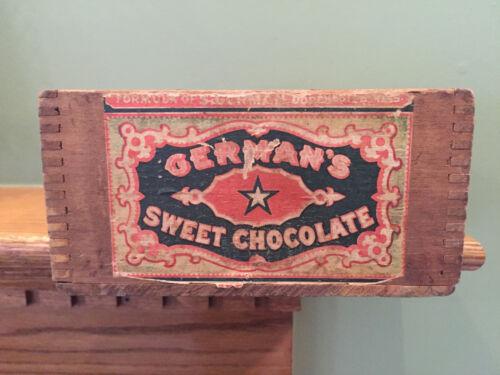 Antique Wooden Walter Baker German Sweet Chocolate Box w/ Paper Label 1900 Paris
