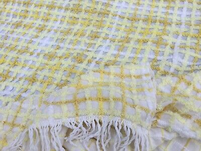 XL Vintage White Lemon Old candlewick bedspread top cover blanket throw King bed