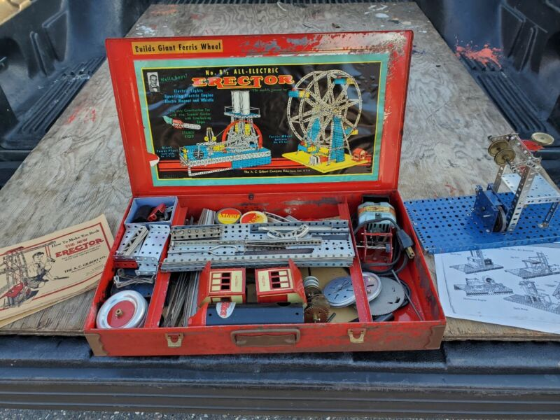 Vintg. Gilbert Erector Set Ferris Wheel, 1000+pcs instructions & case elec motor