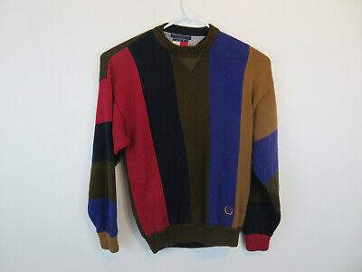 Tommy Hilfiger VTG 90's Colorblock Striped Crewneck Crest Sweater Mens Size L