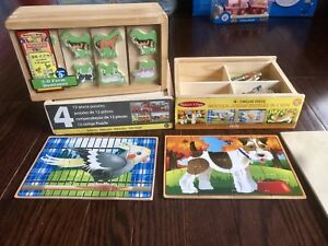 Melissa & Doug Wooden 3-D Farm Dominoes + Wood Puzzles*SEE BELOW