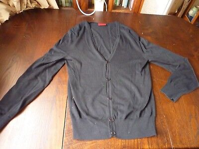 HUGO BOSS SIZE 38 CHEST BLACK COTTON BUTTON FRONT CARDIGAN