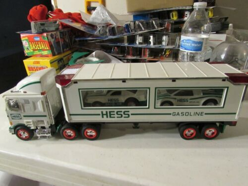 HESS Gasoline Semi Enclosed Car Carrier two race cars