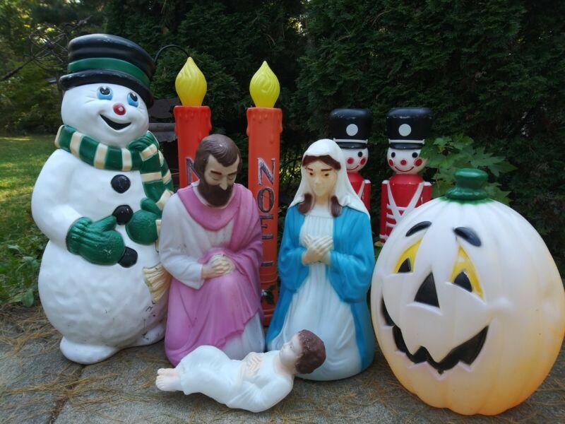Vintage Snowman Soldiers Candlesticks Pumpkin Christmas Nativity Blow Molds