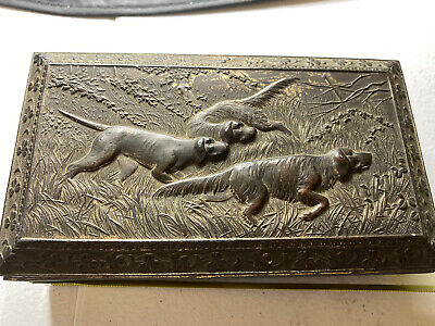 Vintage Cigar Box Humidor Silver Tone Metal Wood Lined Bird Dogs Made in Japan