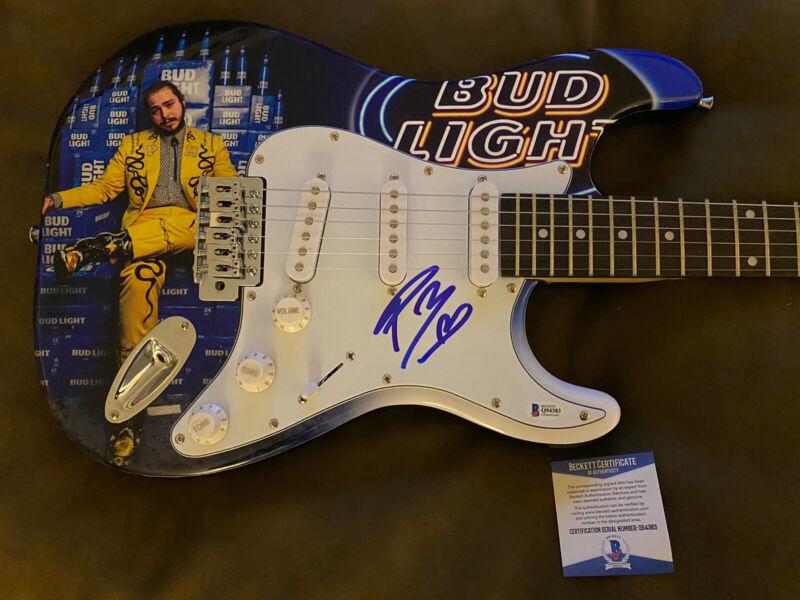 Post Malone Signed Custom Electric Guitar Bud Light Rockstar Auto Beckett COA