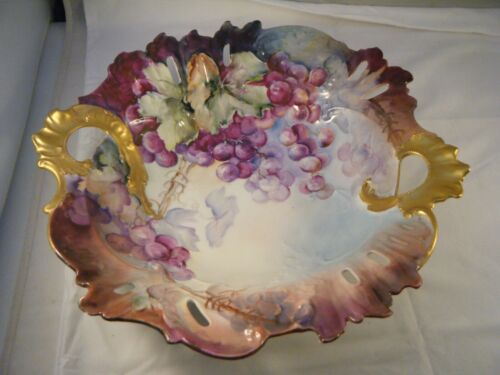 """Antique Victorian Hand Painted Porcelain China Handled Bowl Grapes Gold - 13"""""""