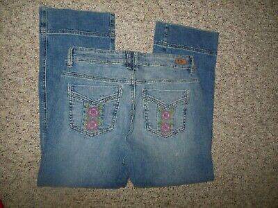 DKNY Boho Womans 8 Blue Denim Embroidered Pkts Stretch Crop Pants Capris