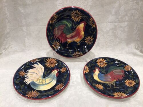 "Set 3 Sunrise by Susan Winget 11"" Dinner Plates Roosters Dark Background"
