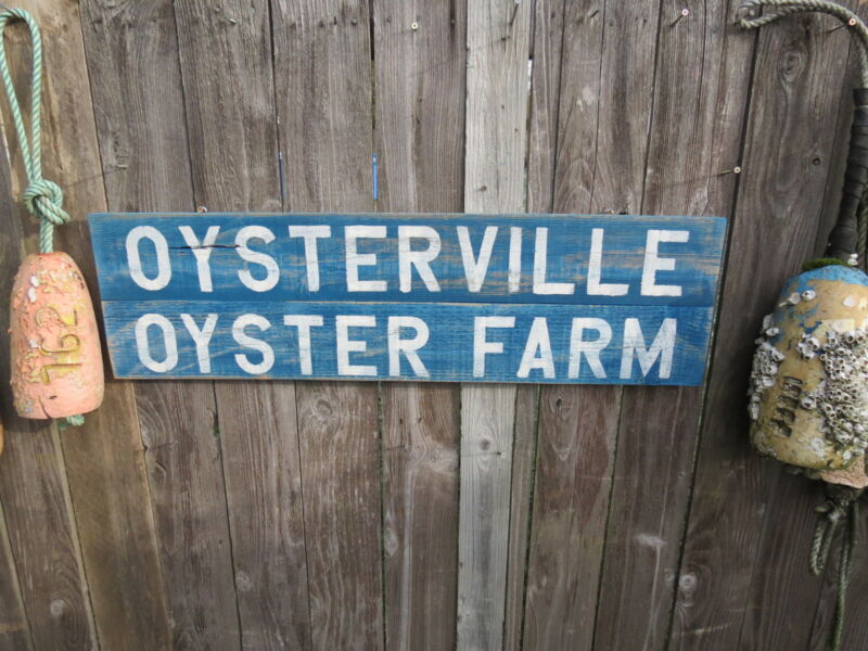 38 INCH WOOD OYSTERVILLE OYSTER FARM SIGN NAUTICAL SEAFOOD (#S272)