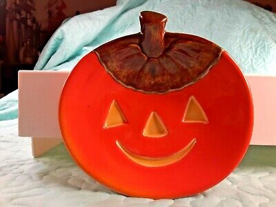 "Ceramic Jack O' Lantern Candy Dish 6.25"" Wide 6"" Tall Homemade Pumpkin 1980"
