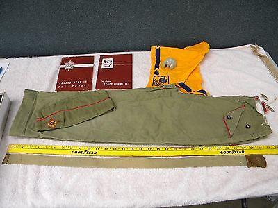 Vintage Boy Scout Outfit ~50's~Pants, Neckerchief, Slide, Hat, Books, & Belt