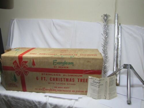 RARE BEAUTIFUL HTF VINTAGE 6 FT EVERGLEAM ALUMNINUM STAINLESS 94 BRANCHES TREE