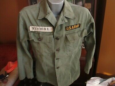 1940s Men's Shirts, Sweaters, Vests NAMED Men's 1940s WWII US Army HBT Fatigue Jacket Shirt 38/40 40s Vtg WW2  $139.65 AT vintagedancer.com
