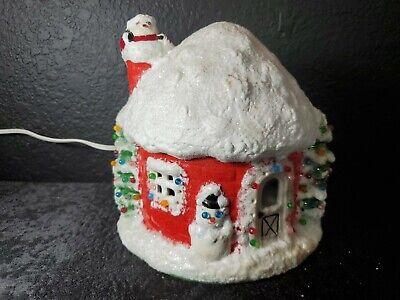 Vintage 70s Ceramic Xmas Santa Igloo Snow House Light Up + Snowman