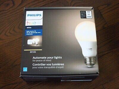 Brand New Philips Hue A19 White Starter Kit with Bridge + 2 E26 LED Bulbs 458983
