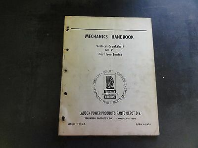Lauson-power Vertical Crankshaft 6 H.p. Cast Iron Engine Mechanics Handbook