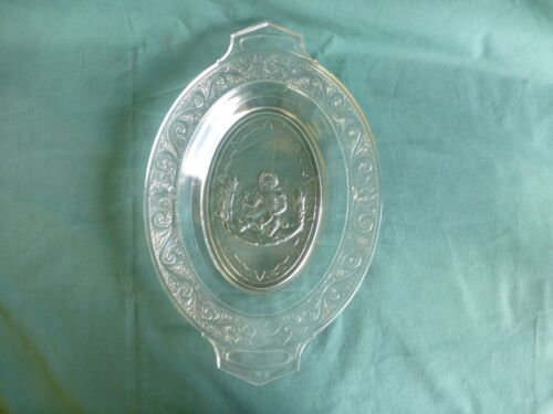 Antique Crying Baby Early American Pattern Glass Bread Tray