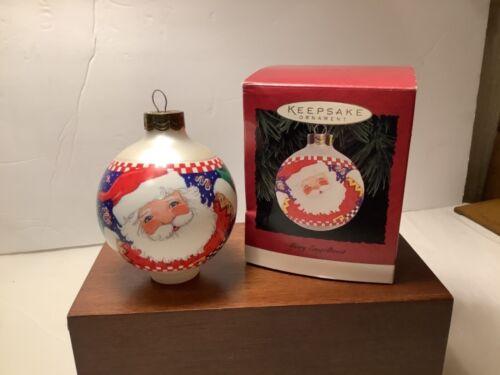 Hallmark Keepsake Glass Ornament Mary Engelbreit Jolly Santa Presents 1995