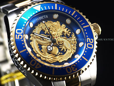 New Invicta Men's 47mm Grand Diver Dragon Automatic Two Tone 18KGP 100M SS Watch