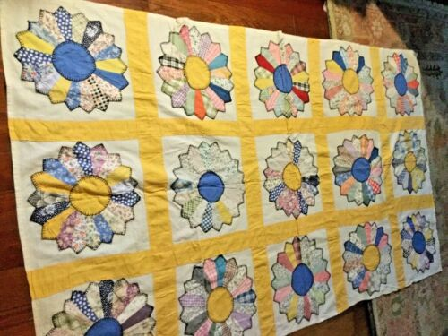 Primitive hand stitched/ appliquéd quilt top Yellow pinwheels great job