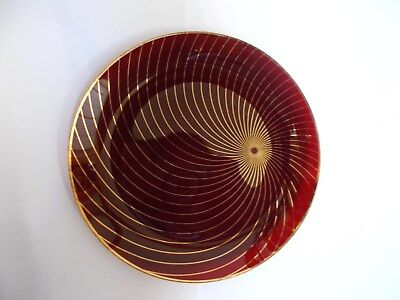 Scarce Vintage Chance Swirl Ruby Gold small circular plate dish 1955-1965 15.5cm