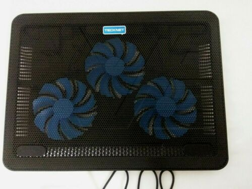 Technet N8 Quiet LED 3 Fan Slim Laptop Cooling Stand Mat 12-17 Inches