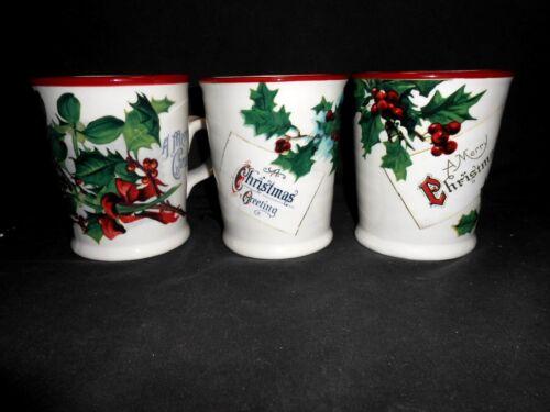 3 Williams Sonoma Vintage Christmas Postcard Mugs Near Mint