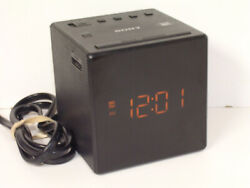 Sony ICF-C1 AM/FM Alarm Clock Radio Cube Black Dimmable/Snooze