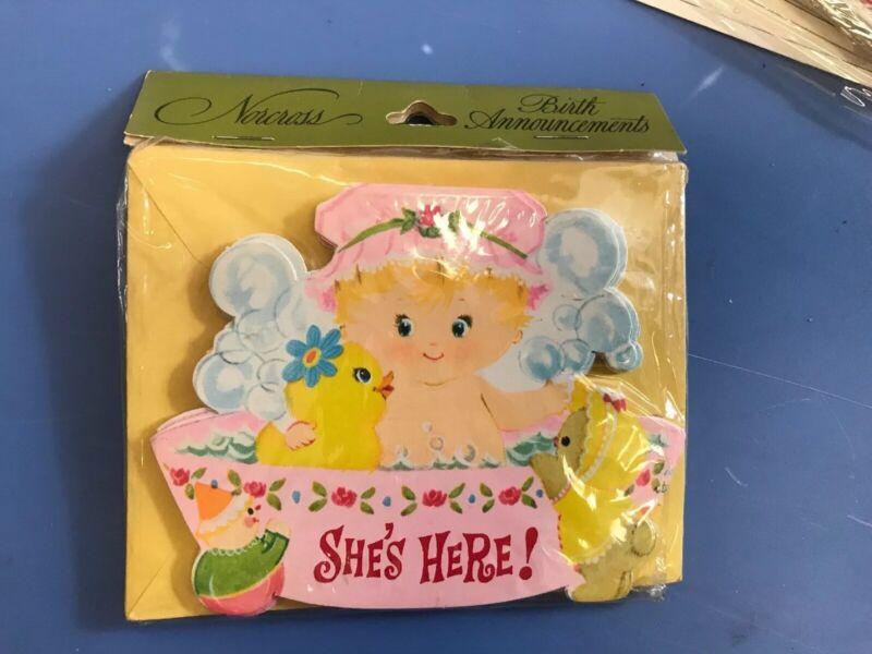 Vintage New Unused (8) Baby Girl Birth Announcements Bathtub Diecut