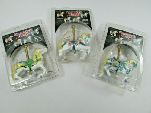 Set Of Three Vintage Carousel Horse Christmas Ornaments 1992 New