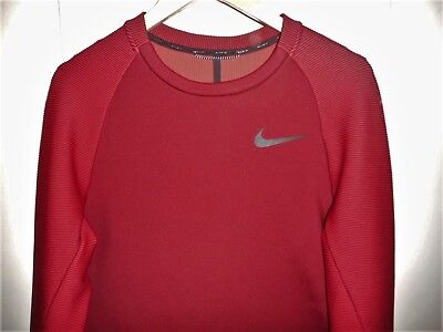 NIKE DRI-FIT PULLOVER SHIRT JACKET MED HQ SAMPLE DARK RED TEXTURED SLEEVES LINED