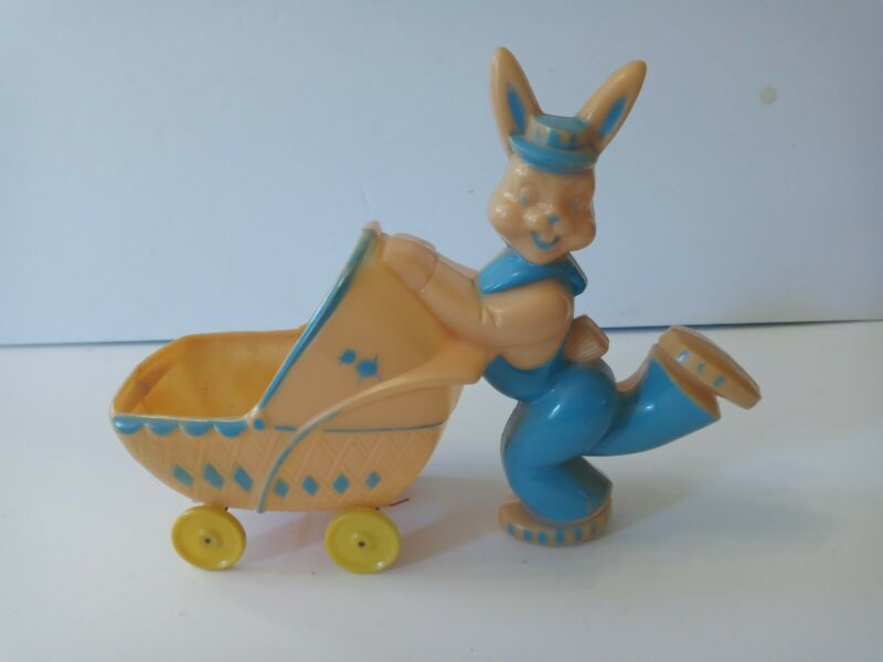 Vintage Rosbro Rosen Hard Plastic Easter Bunny Rabbit Carriage Candy Container