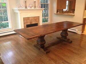 Reclaimed Wood Trestle Extension Dining Table   Custom Sizes Availavle