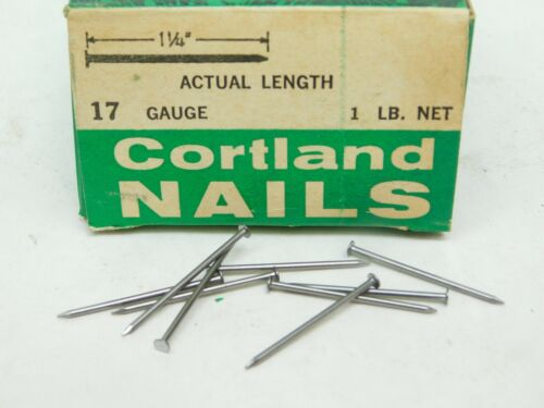 "1000+! WIRE NAILS BOX #17 GA x 1-1/4"" LONG PLAIN STEEL 1/8"" HEAD DIAMETER ESac"