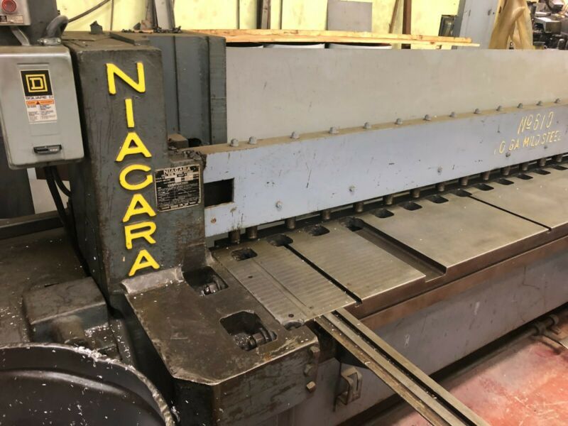 Niagara Hydraulic Squaring Shear 10 Gauge, 10 foot length Very Good Condition