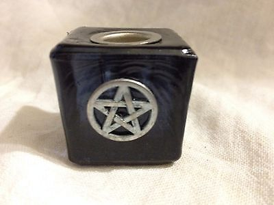 Black Pentagram Art Glass Chime(Mini) Candle Holder Wiccan Pagan Metaphysical
