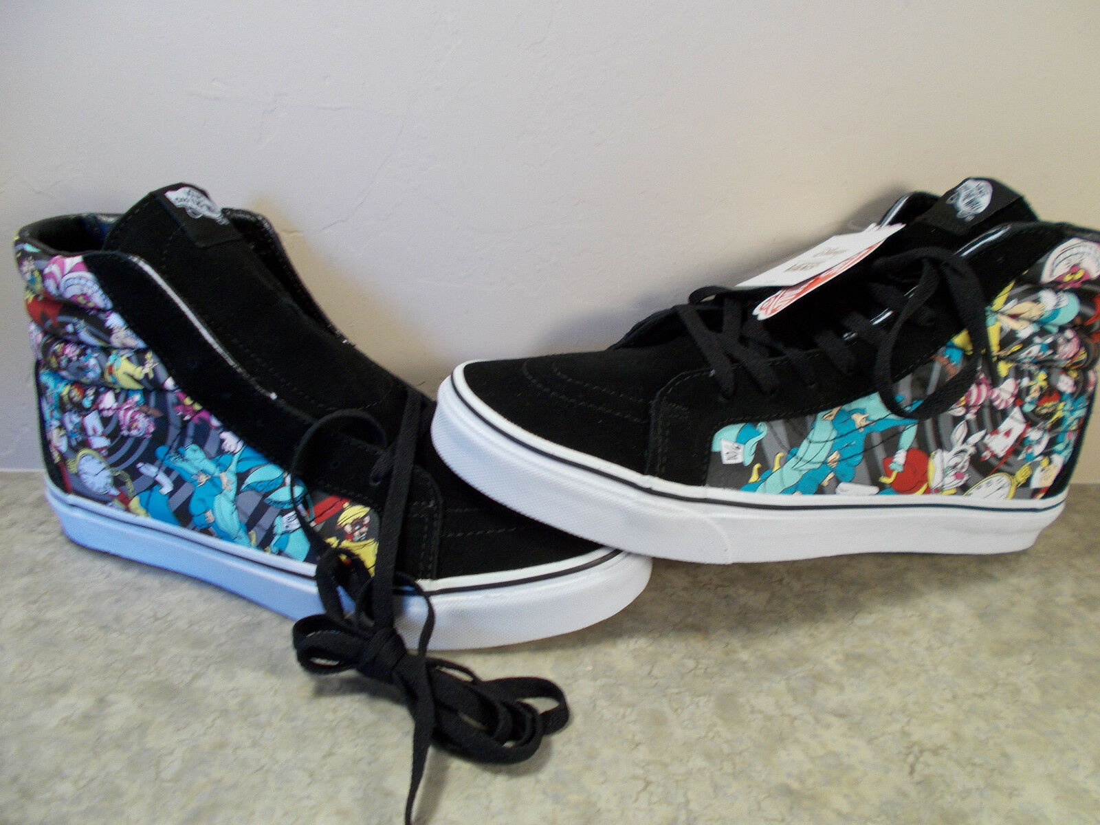VANS SK8-Hi Disney Alice In Wonderland Rabbit Hole HiTop Shoes Mens Size  9.5 NIB f376c01998cb6