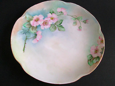 "Vintage Handpainted J & C Louise Bavaria 8 1/2"" Plate Pink Roses Signed B.D."