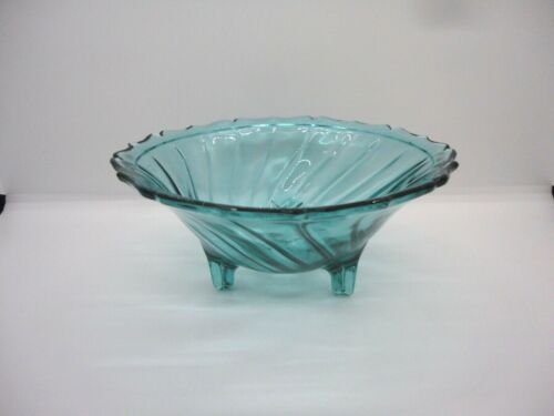 Jeannette Swirl Ultramarine Blue Green 3 Footed Open Candy Dish with Rim