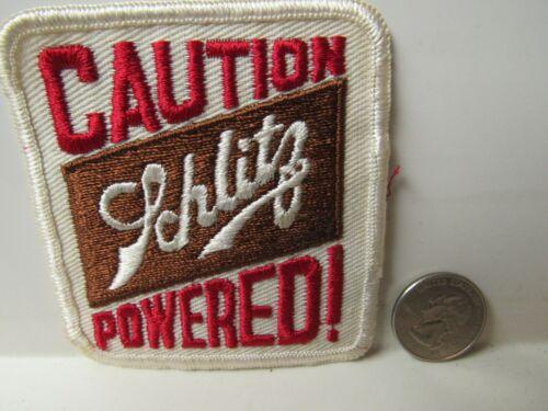"Vtg. Schlitz Beer ""Caution Schlitz Powered"" Embroidered Patch New Old Stock"