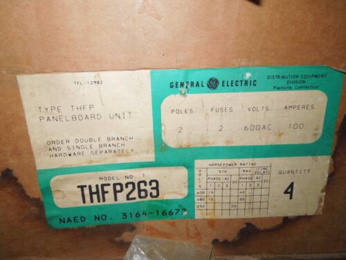 4- Ge Thfp263 100a 2p 600v Fused Panelboard Switch Surplus In One Box